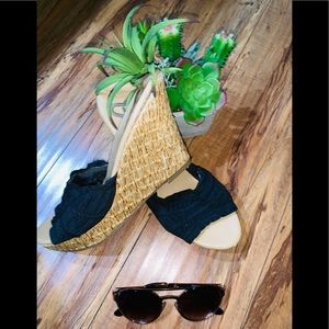 Shoes - Beautiful black straw wedge sandals